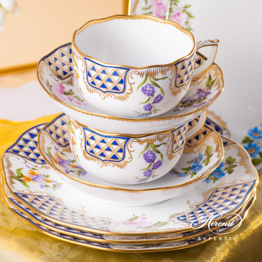 Coffee Set for 4 Persons - Mosaic and Flowers MTFC decor. Herend porcelain tableware. Hand painted