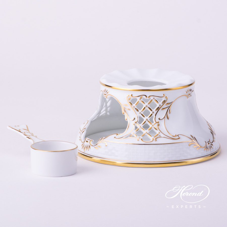 Tea Stove w. Inlay 455-0-00 HD Hadik design. Herend fine china hand painted. Rich Golden Edge. Classical Herend design