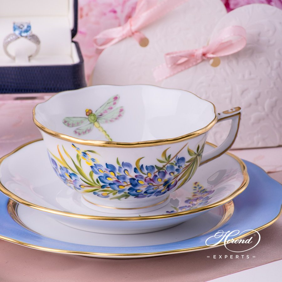 Tea Cup and Saucer 20734-0-00 FLA-BB Texas Bluebonnet Flower pattern - Herend porcelain hand painted
