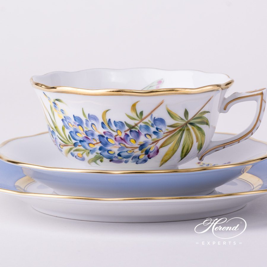 Tea Cup with Dessert Plate FLA-BB Texas Bluebonnet Flower pattern - Herend porcelain hand painted