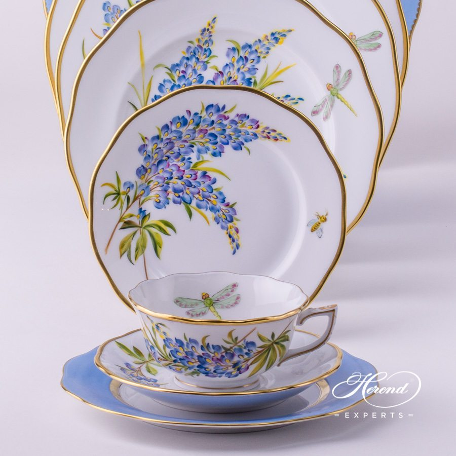 Place Setting with Tea Cup Herend Texas Bluebonnet FLA-BB Flower pattern. Herend porcelain hand painted