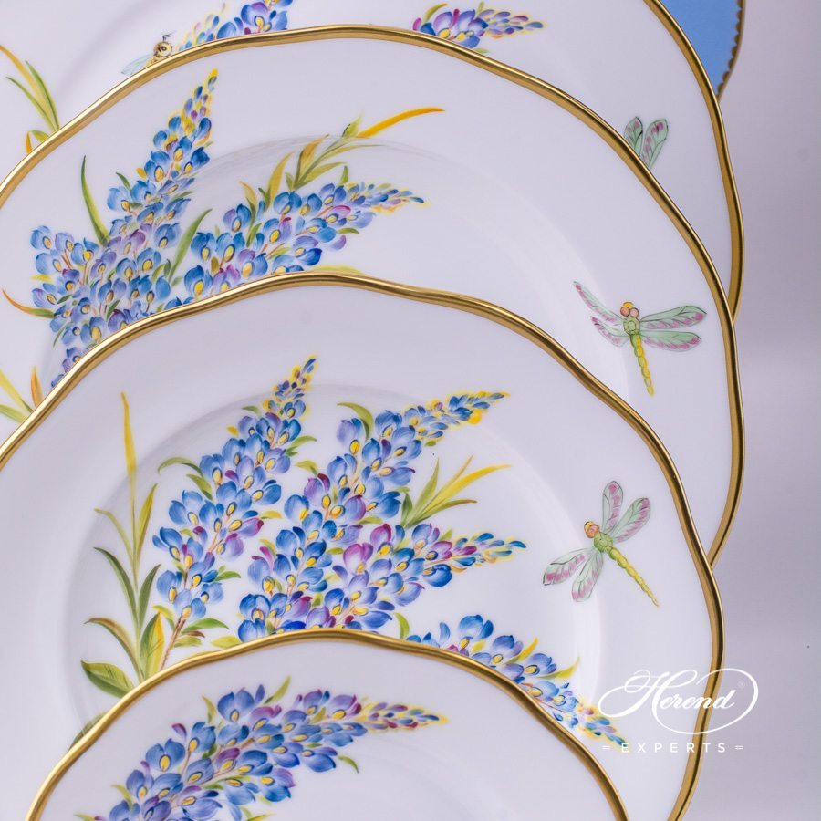 Place SettingwithTea Cup Herend Texas Bluebonnet FLA-BB Flower pattern. Herend porcelain hand painted