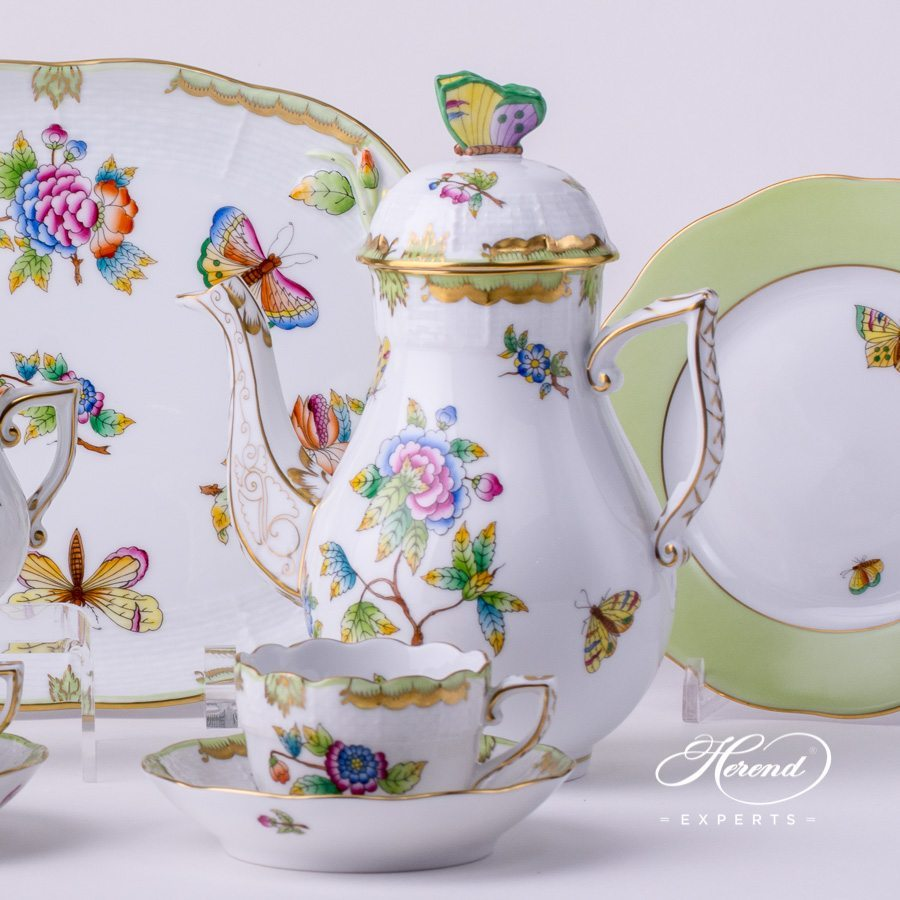 Coffee / Mocha Set for 2 Persons with Cake Plate 412-0-00 VBO Queen Victoria pattern and Green edge Dessert Plates. Herend porcelain