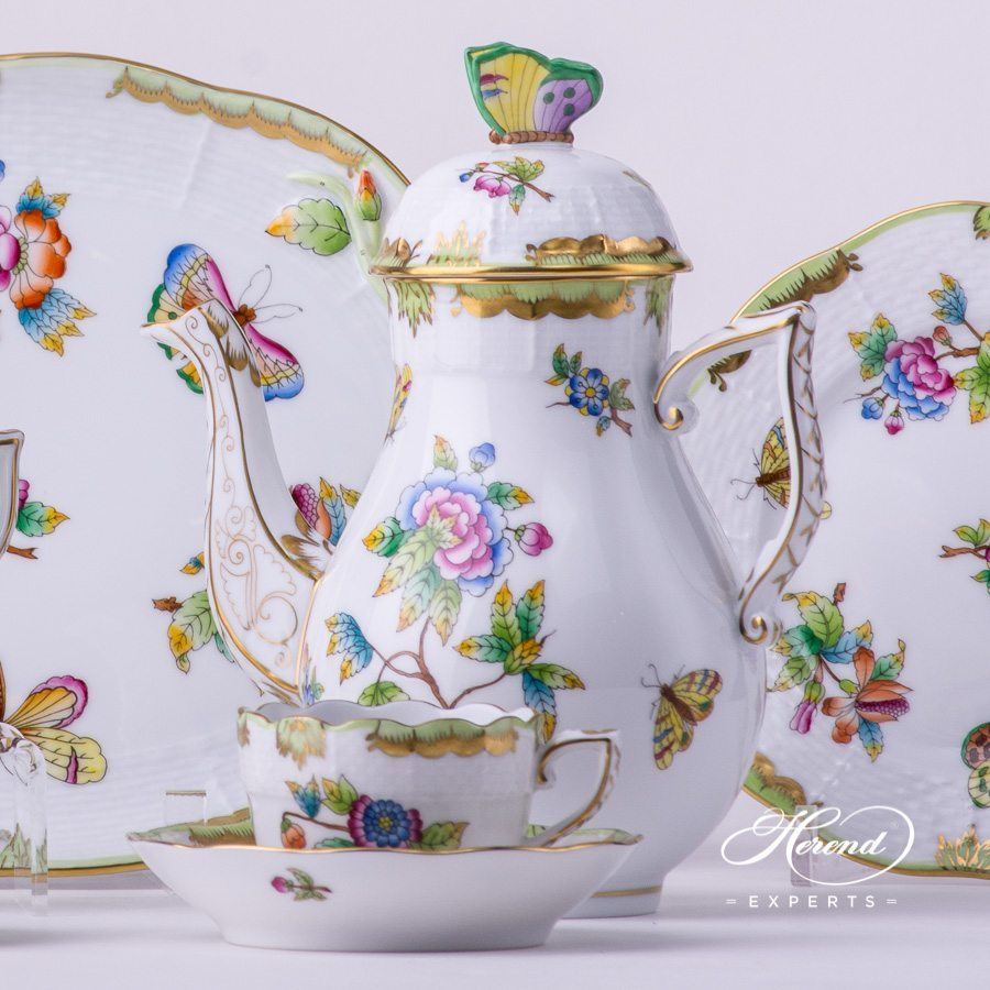 Coffee / Mocha Set for 2 Persons with Cake Plate 412-0-00 VBO Queen Victoria pattern. Herend porcelain