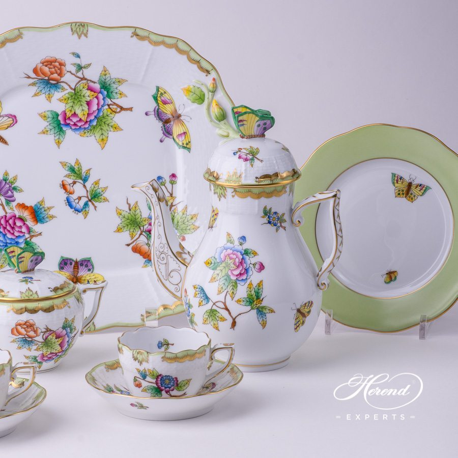 Coffee / Mocha Set for 2 Persons with 430-0-00 Cake Plate - Queen Victoria VBO pattern. Herend porcelain
