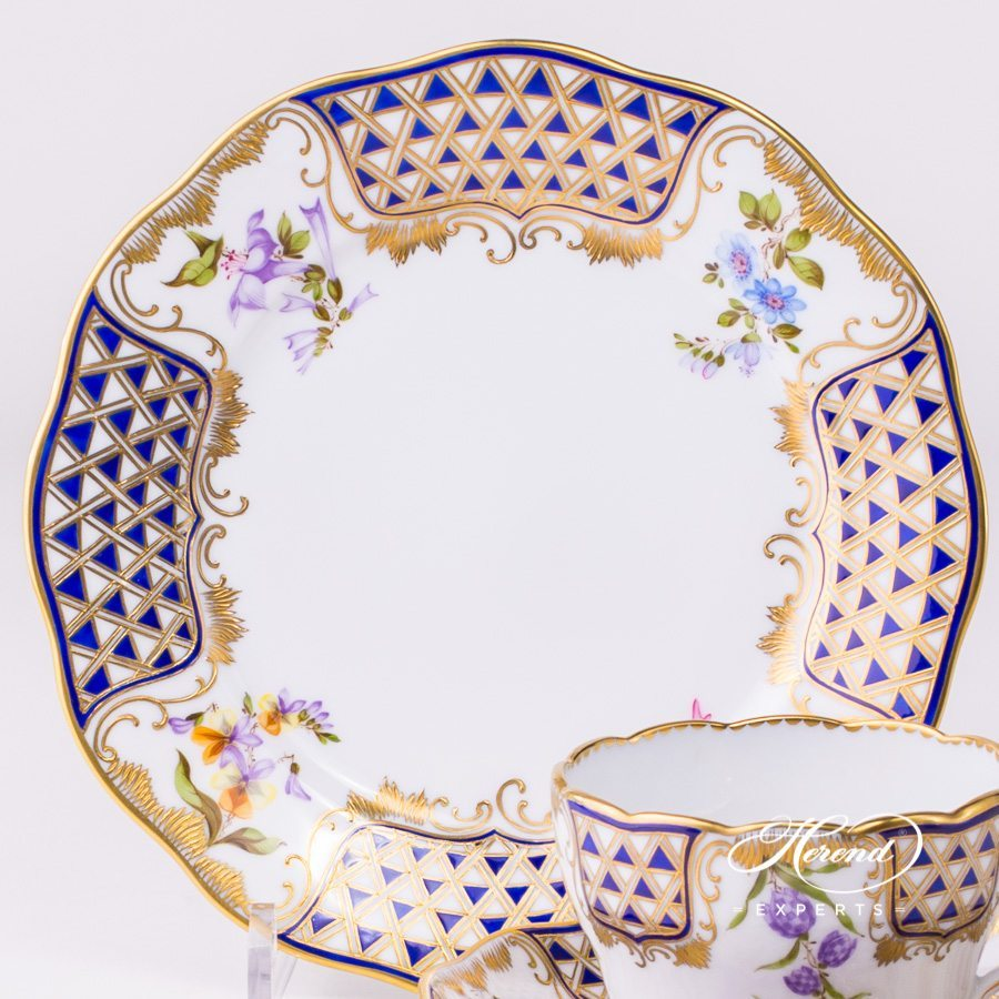Tea Cup with Dessert Plate 20730-0-00 and 20517-0-00 MTFC Mosaic and Flowers decor. Herend porcelain tableware. Hand painted