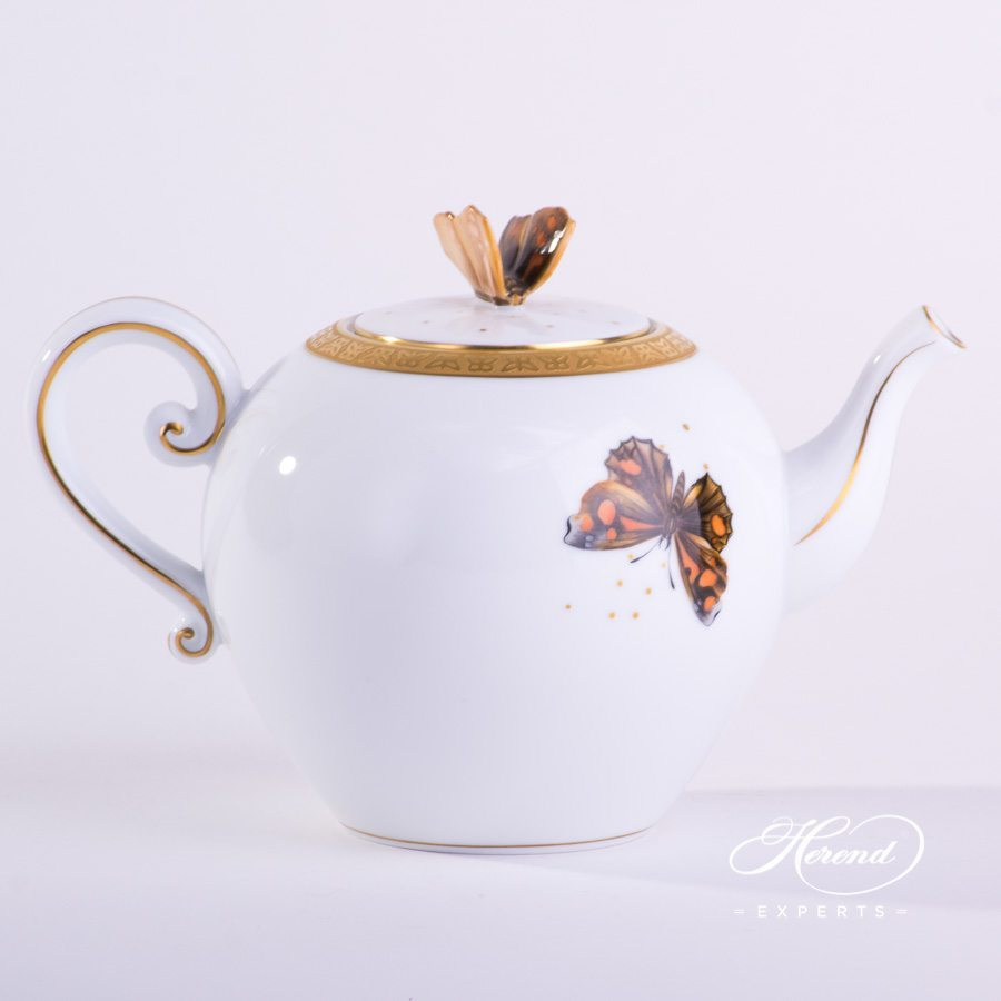 Tea Set for 2 Persons Gold Butterfly SP1065 Special pattern. Herend porcelain handpainted