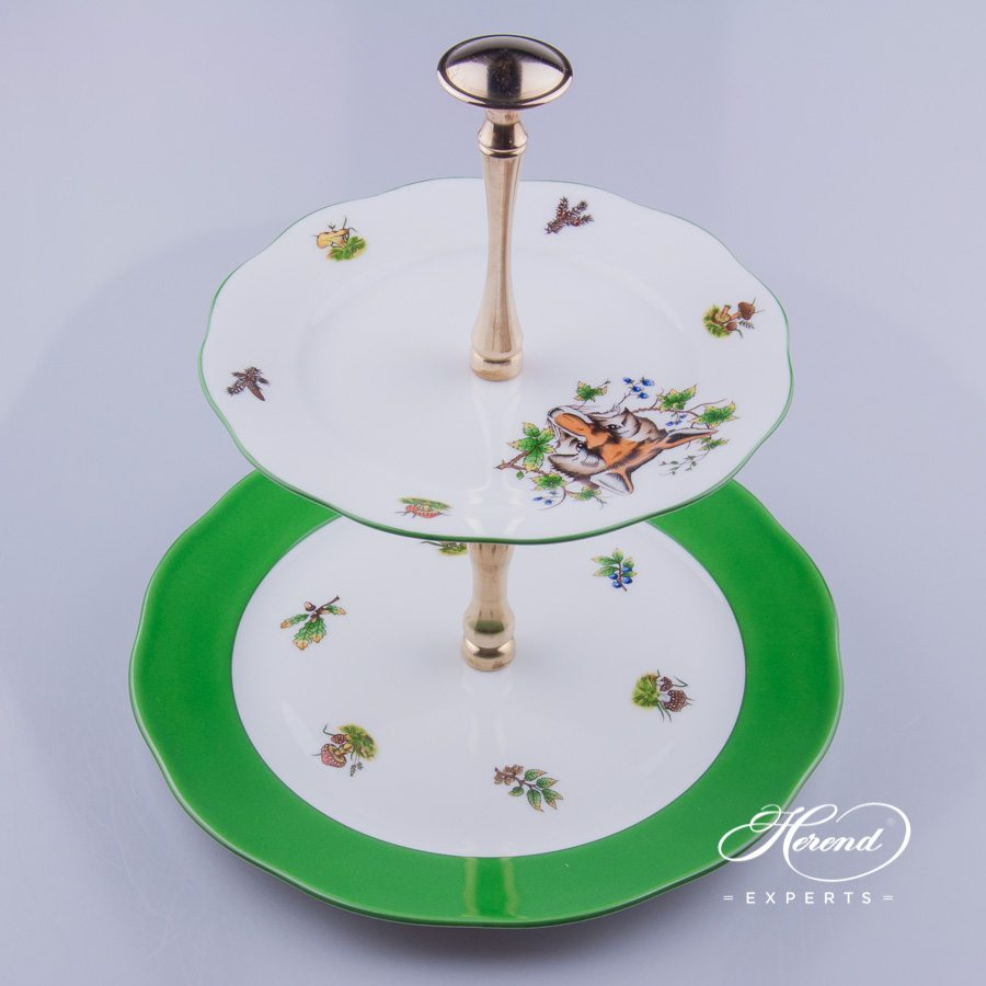 Cake Stand with 2 Tier 308-0-92 GY10 - Hunter Trophies CHTM pattern. Herend fine china hand painted. Tableware