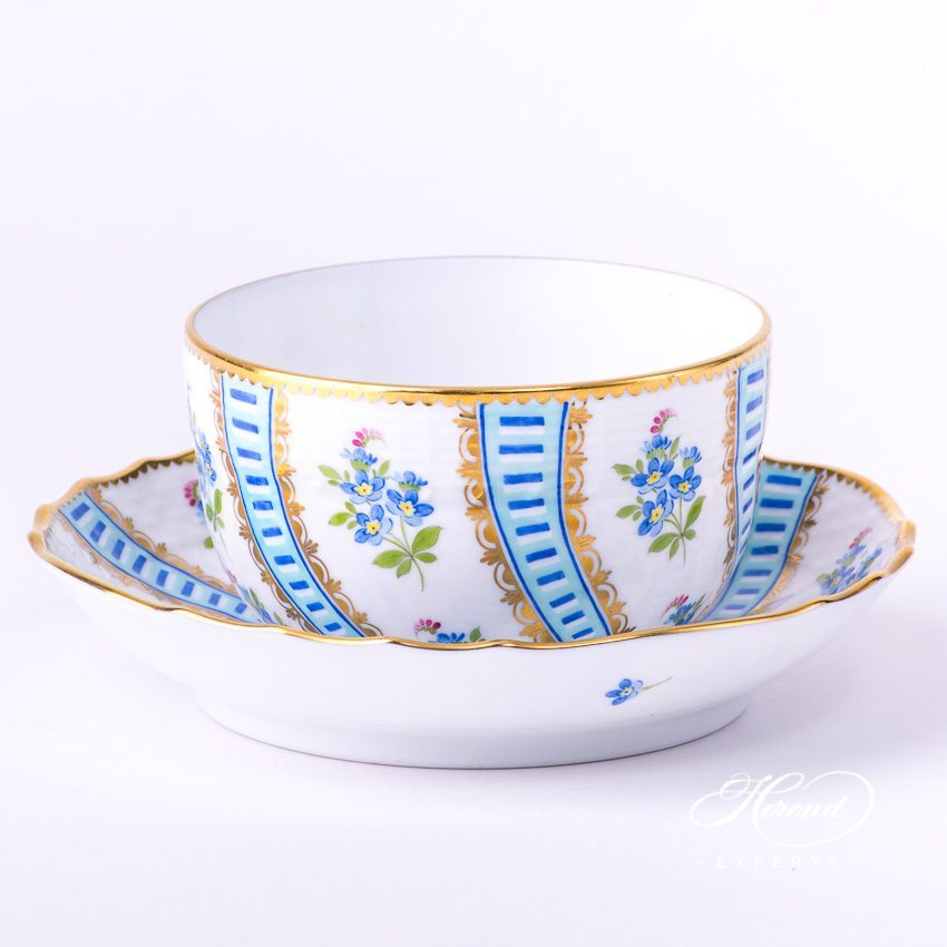 Tea Cup w. Saucer 1726-0-00 MYTTQ Blue Forget-Me-Not Flowerdesign. Herend fine china
