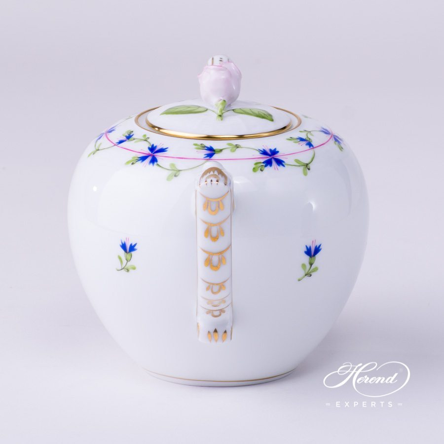 Tea Pot with Rose Knob 606-0-09 PBG Cornflower Garland decor - Herend porcelain hand painted