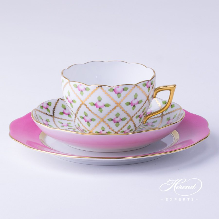 Basic Tea Setfor1 Person- Herend Sevres Roses SPROG pattern. Herend fine china hand painted. Classic Herend pattern