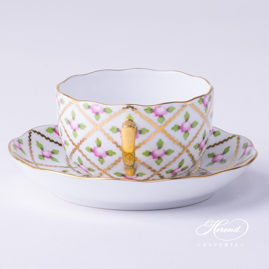 Tea Cup with Saucer 20724-0-00 SPROG Sevres Roses decor. Herend porcelain hand painted. Classic Herend pattern
