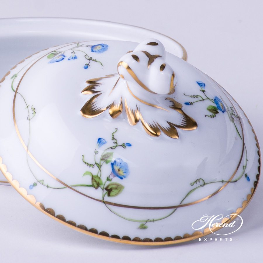 Patty Pan w. Twisted Knob 20388-0-06 NY Nyon / Morning Glory design. Herend fine china tableware. Hand painted