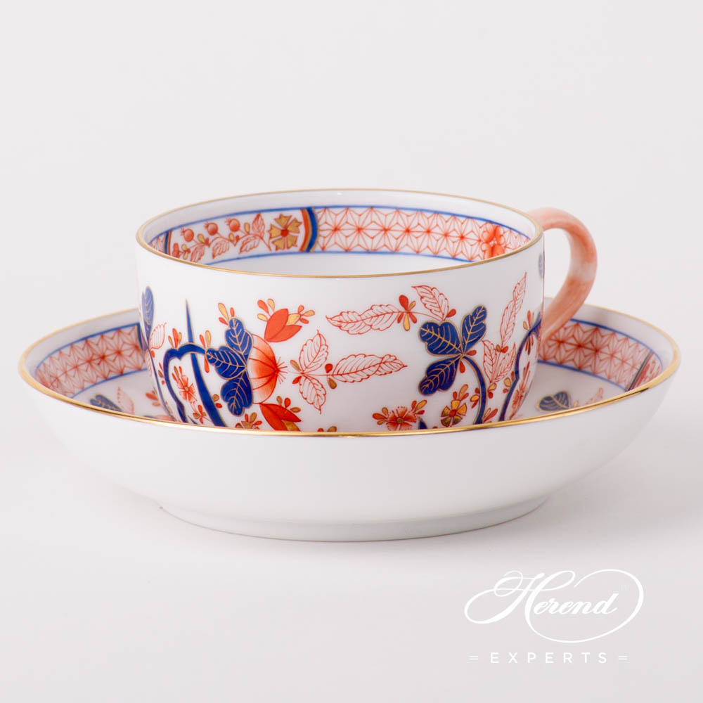Tea Cup w. Saucer 2704-0-00 Canton design. Herend fine china hand painted. Oriental Herend pattern