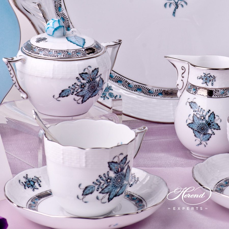 Coffee Set for 2 Persons with Cake Plate - Apponyi Turquoise ATQ3-PT pattern. Herend porcelain hand painted