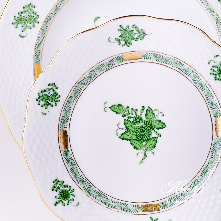 Place Setting 3 Pieces - Chinese Bouquet / Apponyi Green decor. Herend porcelain dinnerware. Chinese Bouquet Green pattern