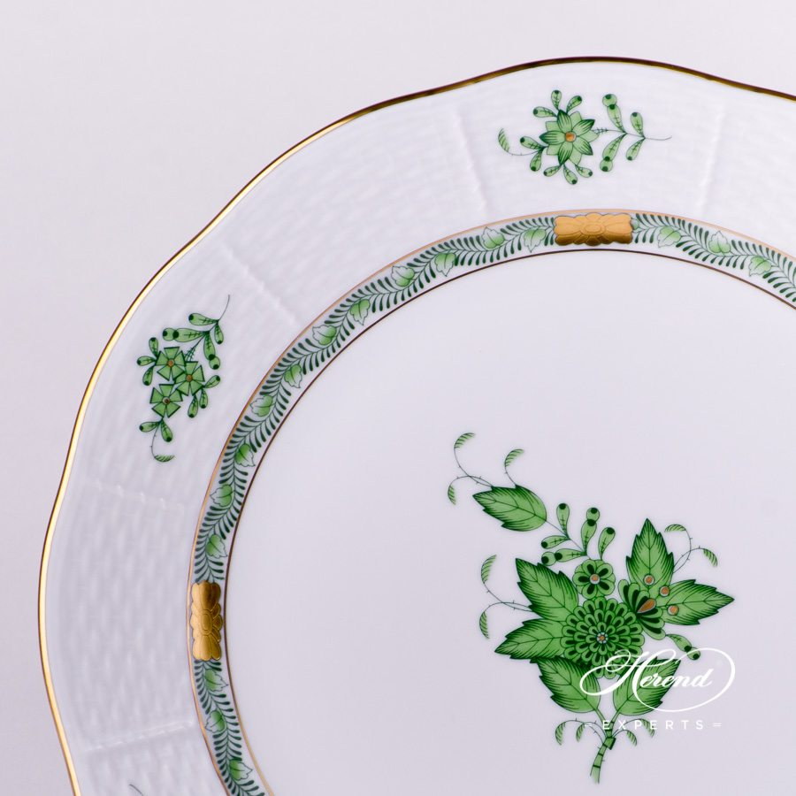 Dinner Plate 524-0-00 AV Chinese Bouquet / Apponyi Green decor. Herend porcelain hand painted. Chinese Bouquet Green pattern