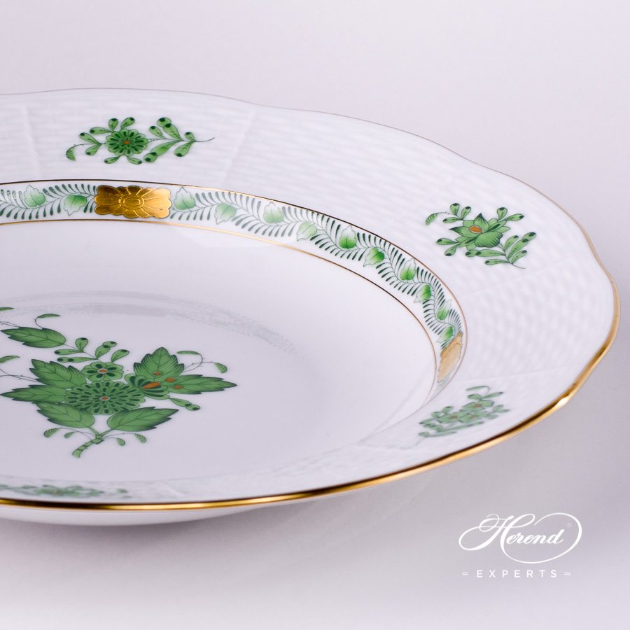 Soup Plate 504-0-00 AV Chinese Bouquet / Apponyi Green decor. Herend porcelain hand painted. Chinese Bouquet Green pattern