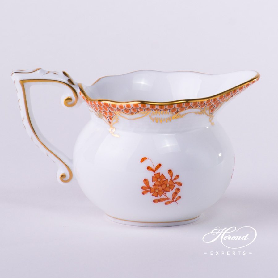 Creamer 644-0-00 AOG-ETH Chinese Bouquet Rust / Apponyi Orange Fish scale decor. Herend porcelain hand painted