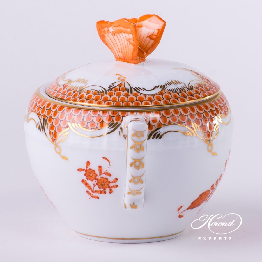 Sugar Basin with Butterfly Knob 472-0-17 AOG-ETH Chinese Bouquet Rust / Apponyi Orange Fish scale decor. Herend porcelain hand painted