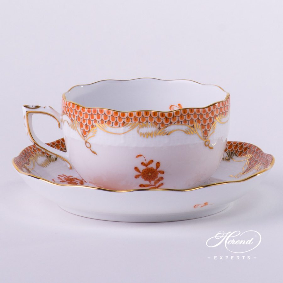 Tea Cup with Saucer 724-0-00 AOG-ETH Chinese Bouquet Rust / Apponyi Orange decor with Fish Scale. Herend Fine china hand painted