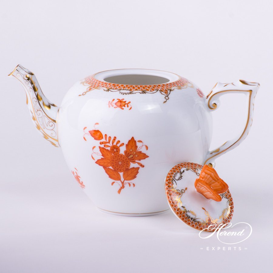 Tea Pot with Butterfly Knob 606-0-17 AOG-ETH Chinese Bouquet Rust / Apponyi Orange decor with Fish Scale. Apponyi Orange Fish Scale pattern. Herend porcelain hand painted