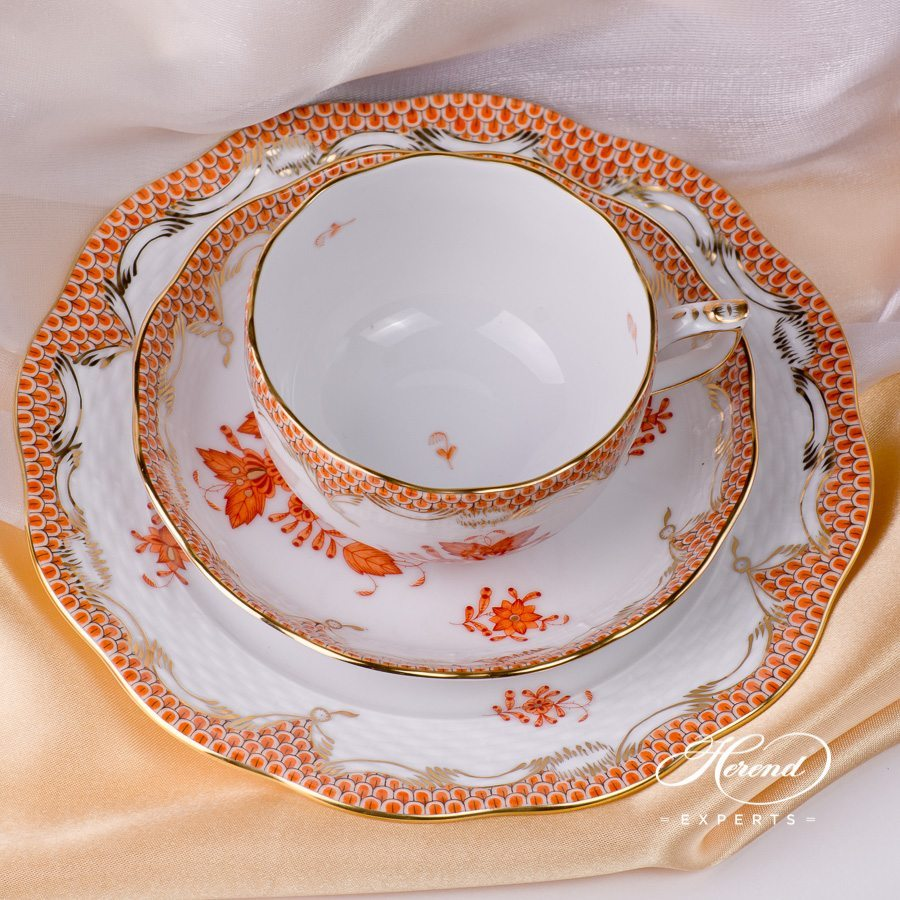 Tea Set for 2 Persons - AOG-ETH Chinese Bouquet Rust / Apponyi Orange decor with Fish Scale. Herend porcelain hand painted