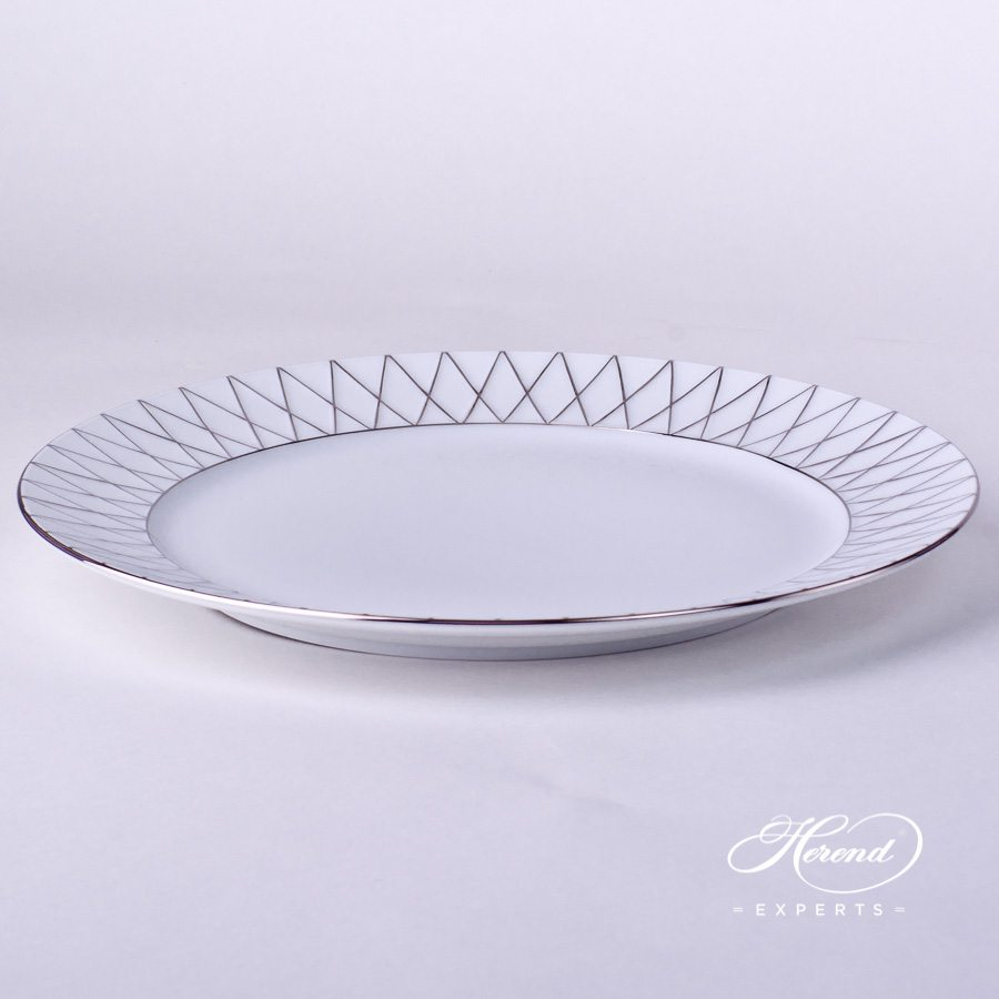 Serving / Charger Plate 4760-0-00 BABOS-PT Platinum Edge design. Herend fine china handpainted