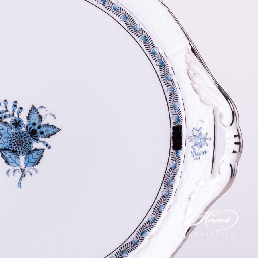 Cake Plate with Handle 315-0-00 ATQ3-PT Apponyi Turquoise decor. Herend porcelain hand painted