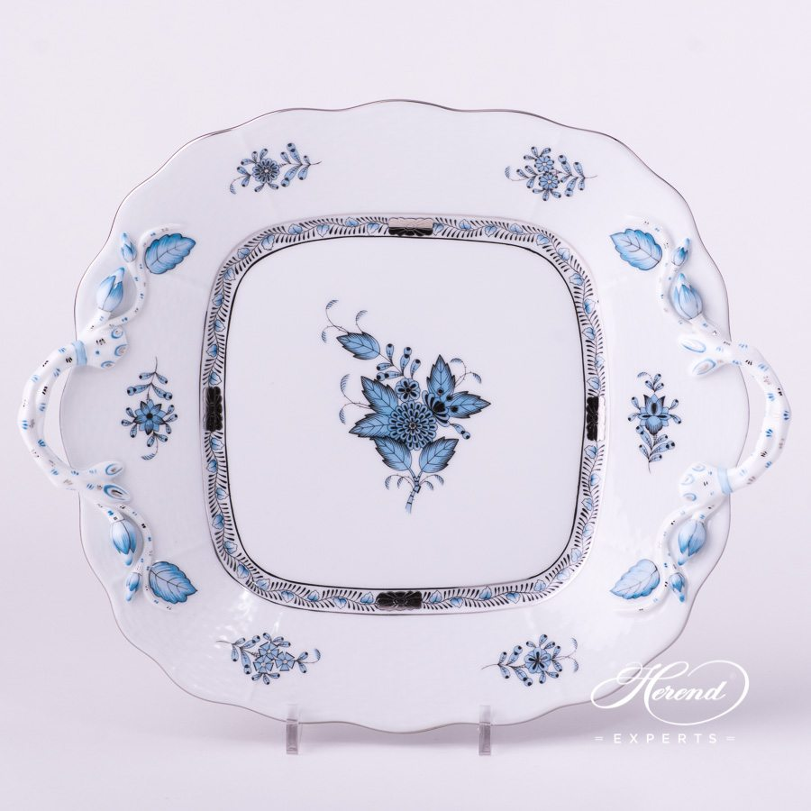 Cake Plate with Handle 430-0-00 ATQ3-PT Apponyi Turquoise decor. Herend porcelain hand painted