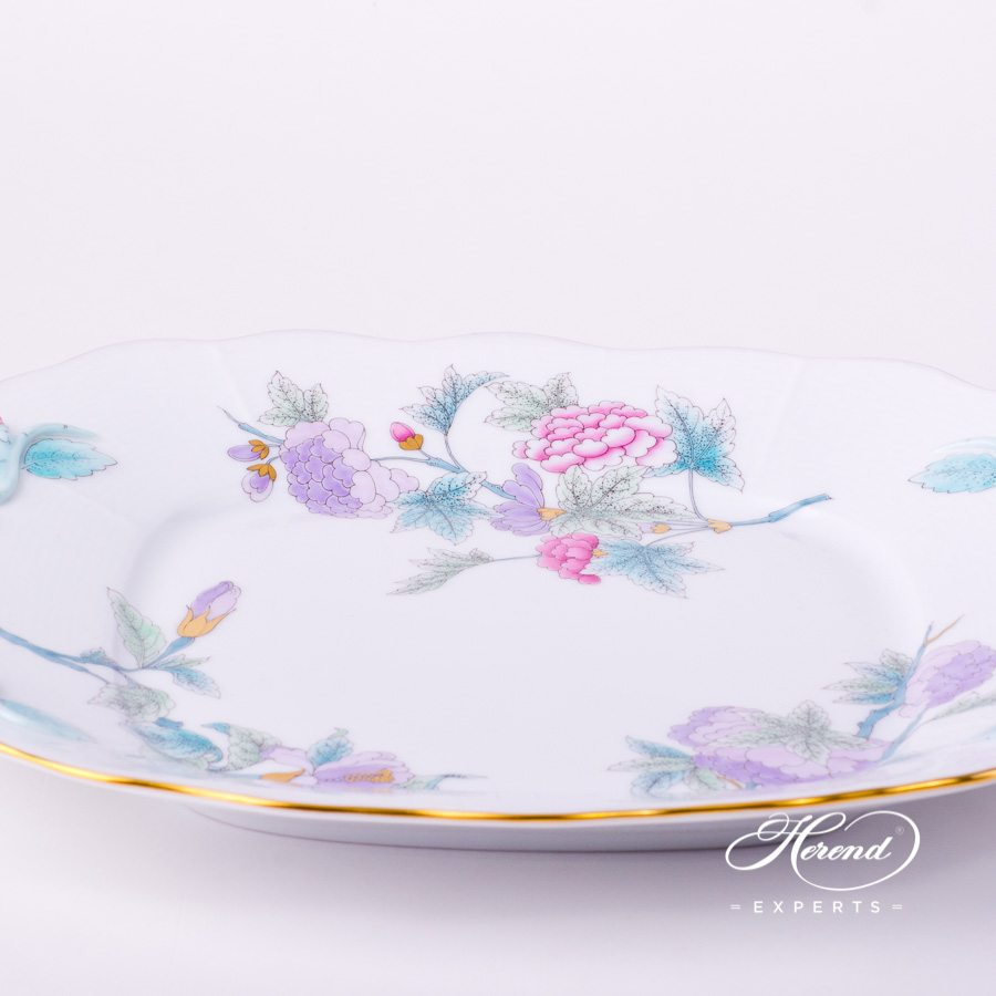Cake Plate w. Handles 430-0-00 EVICTF2 Royal Garden Turquoise Flower design. Herend fine china