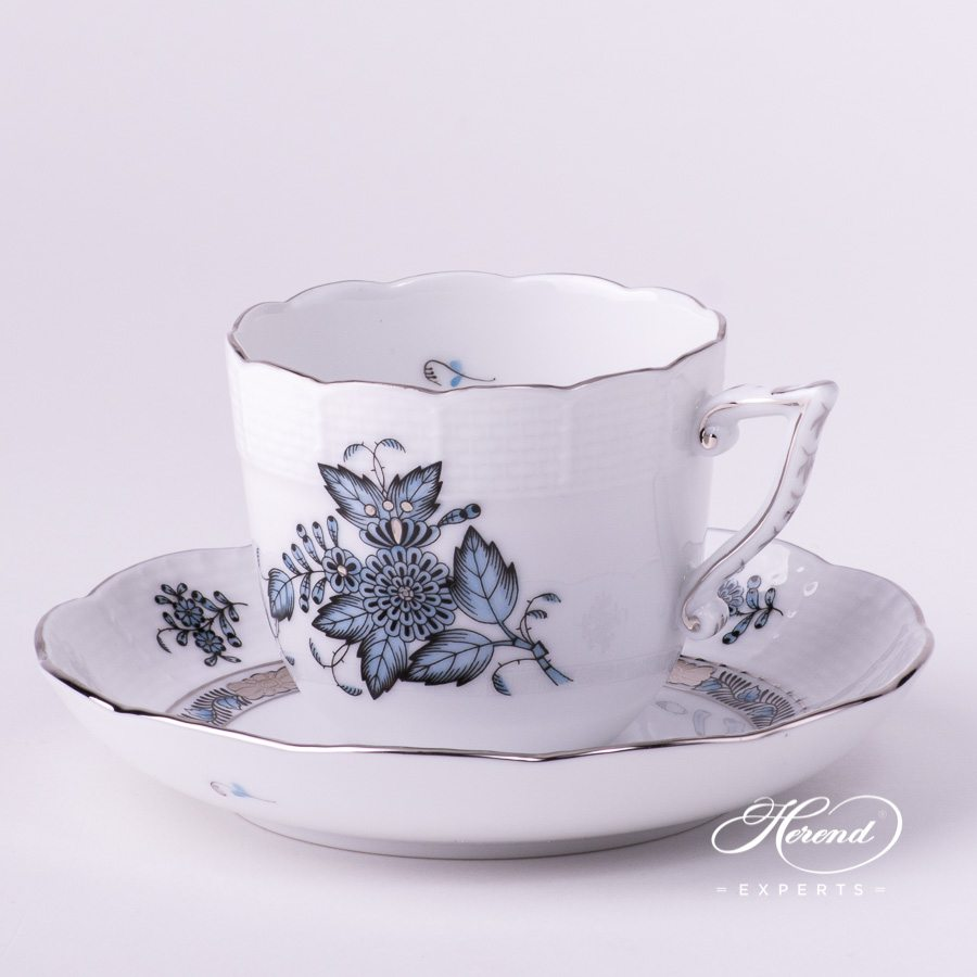 Coffee Cup and Saucer 706-0-00 ATQ3-PT Chinese Bouquet / Apponyi Turquoise decor. Herend porcelain hand painted