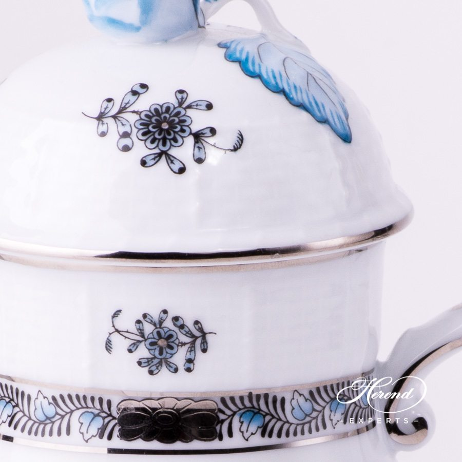 Coffee Pot / EspressoPot w.Bud Knob614-0-12 ATQ3-PT Chinese Bouquet Turquoise / Apponyi Turquoise pattern. Herend fine china tableware
