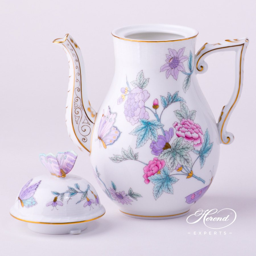 Coffee Pot w. Butterfly Knob 613-0-17 EVICT2 Royal Garden Turquoise Butterfly w. Flower design. Herend fine china