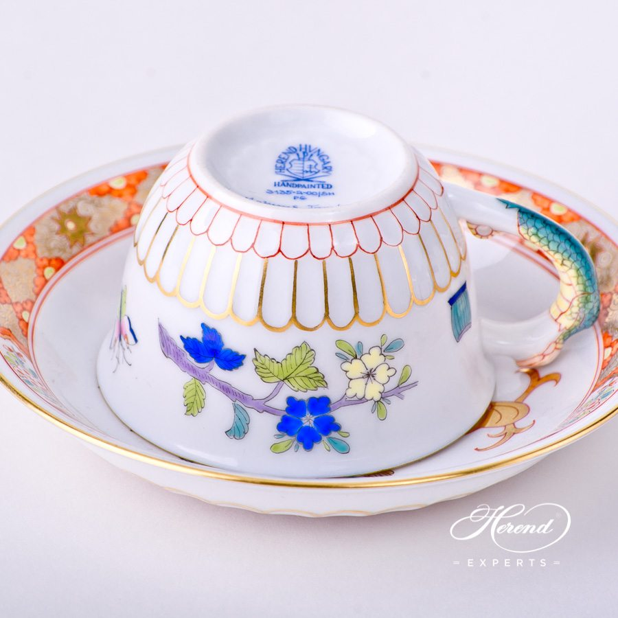 Coffee Cup or Espresso Cup with Saucer 3135-0-00 SH Shanghai decor. Coffee Cup with Salamander handle. Herend porcelain tableware. Hand painted