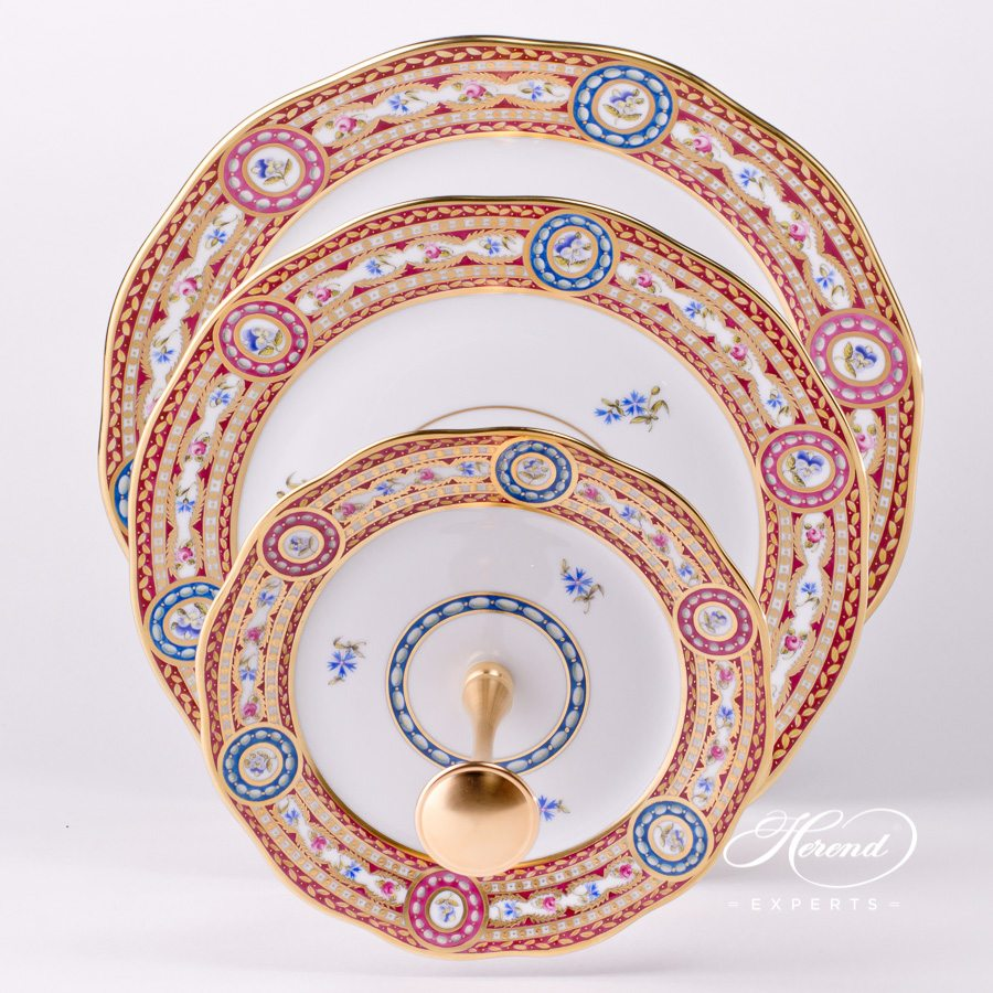 Cake Stand 3 Tier 20309-0-92 EGAVT Eglantine / Silk Brocade pattern. Herend fine china