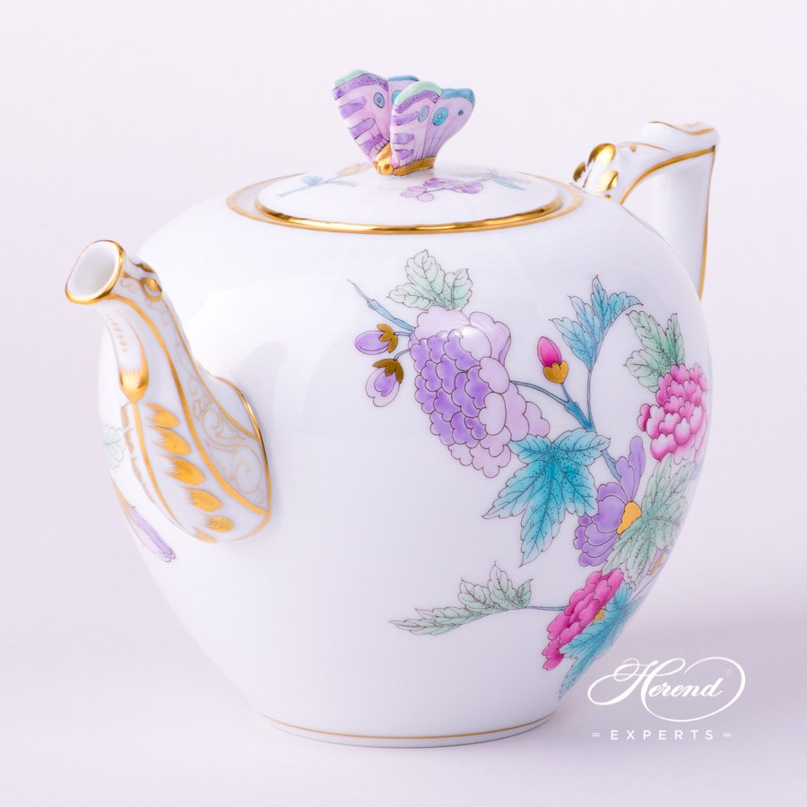 Tea Pot with Butterfly Knob 606-0-17 EVICTF2 Royal Garden Flower pattern. Herend porcelain hand painted