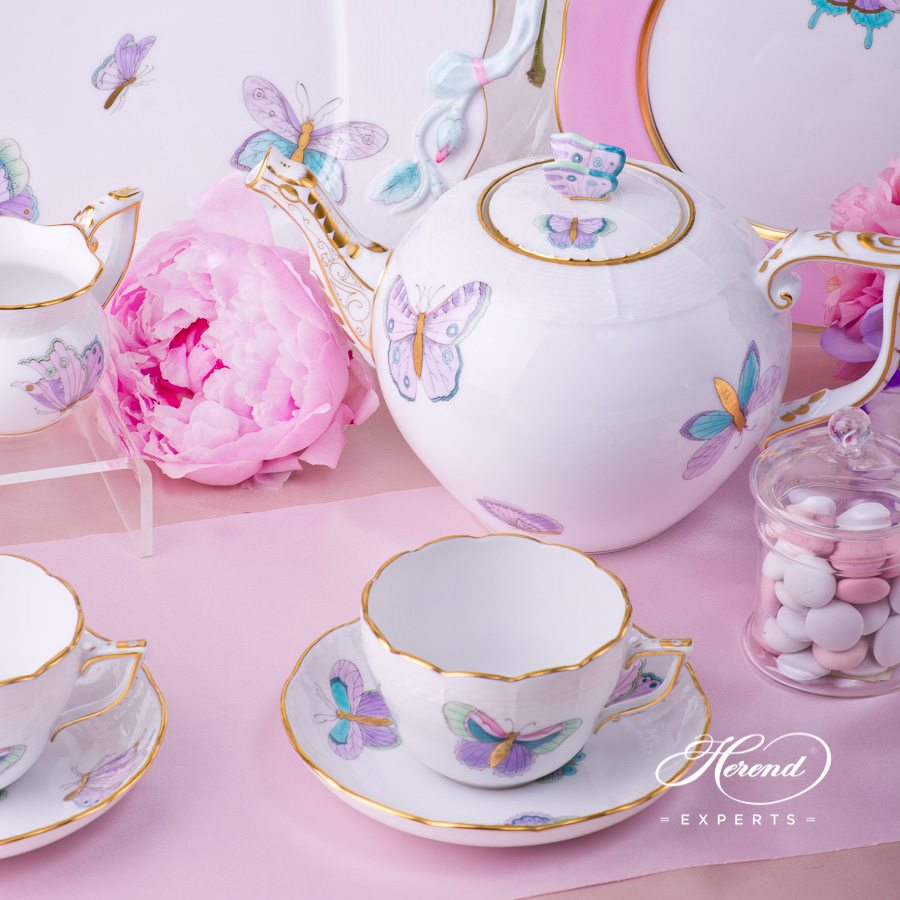 Tea Set for2 Persons with Cake Plate- HerendRoyal Garden EVICTP2 Butterfly Turquoisepattern. Herend porcelain