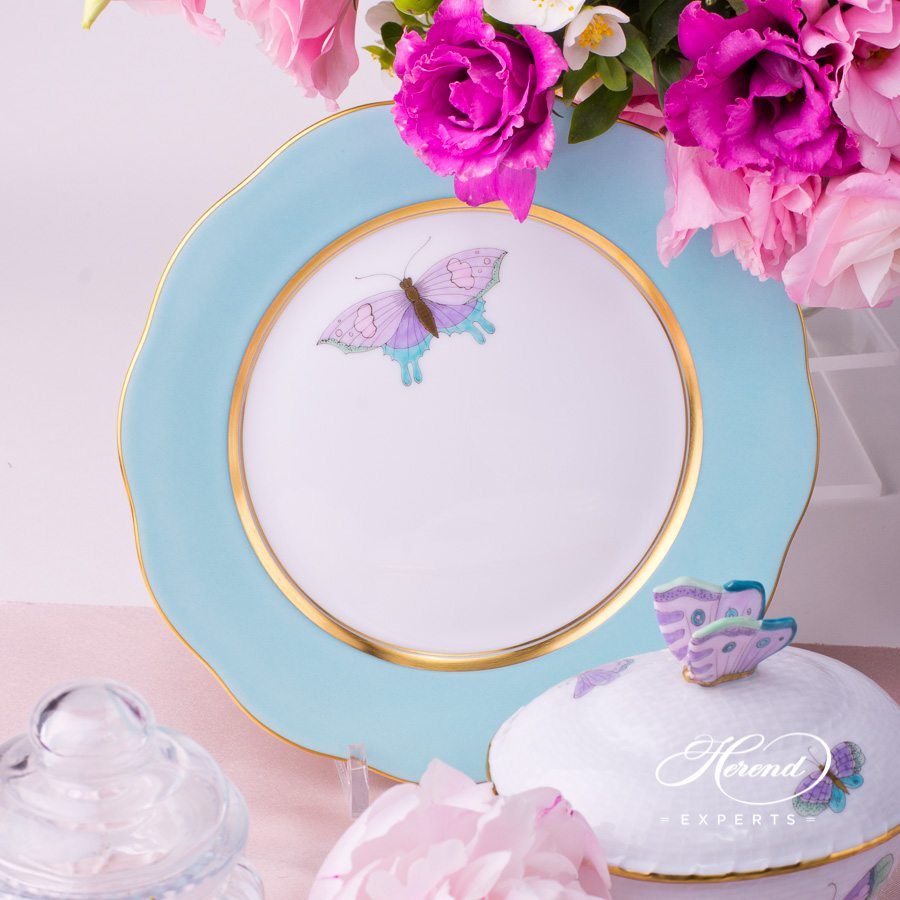 Tea Set for 2 Persons with Cake Plate - Herend Royal Garden EVICTP2 Butterfly Turquoise pattern. Herend porcelain