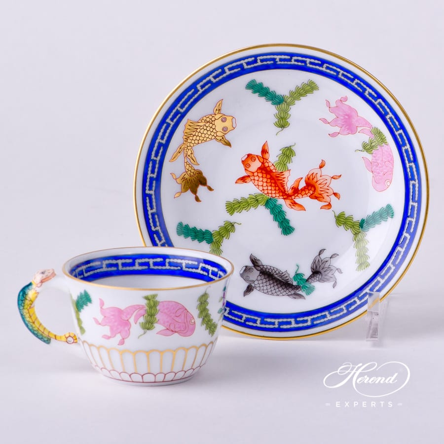 Coffee Cup or Espresso Cup with Saucer 3135-0-00 PO Fishes decor. Coffee Cup with Salamander handle. Herend porcelain tableware. Hand painted