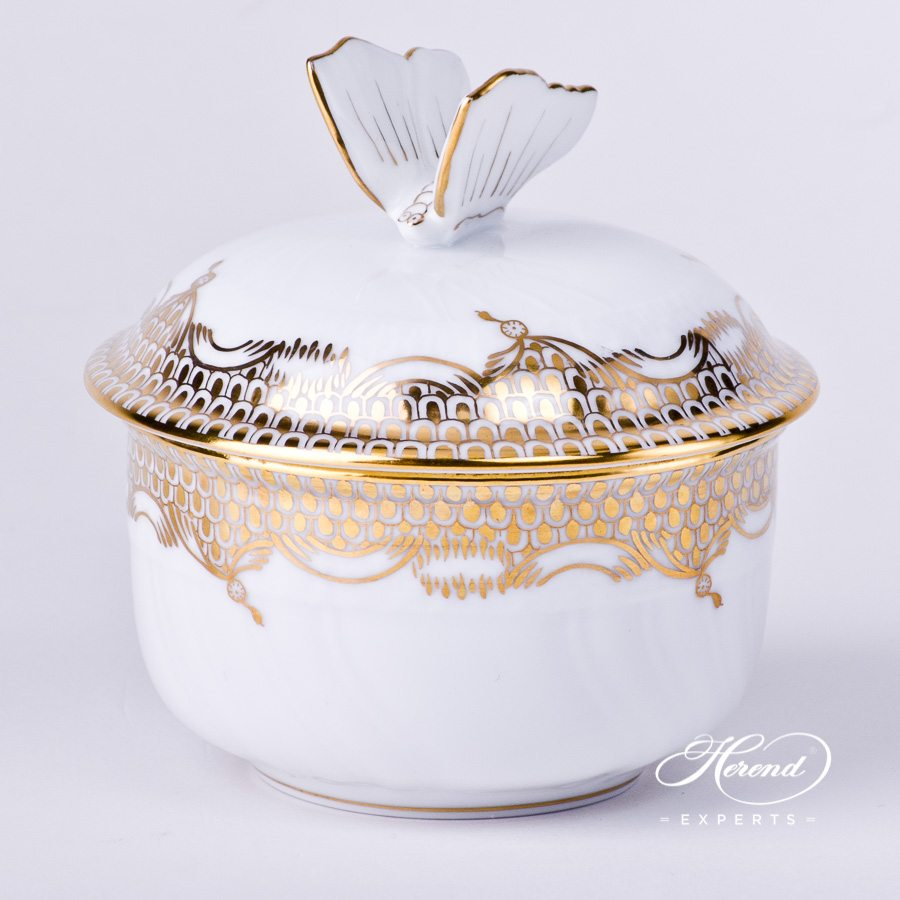 Sugar Basin w. Butterfly Knob 1464-0-17 A-ETOR Gold Fish Scale design. Herend fine china