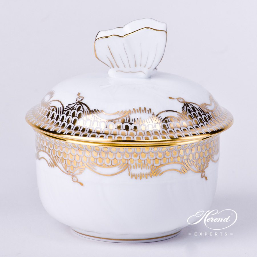 Sugar Basin with Butterfly Knob 1464-0-17 A-ETOR Gold Fish Scale decor. Herend porcelain tableware. Hand painted