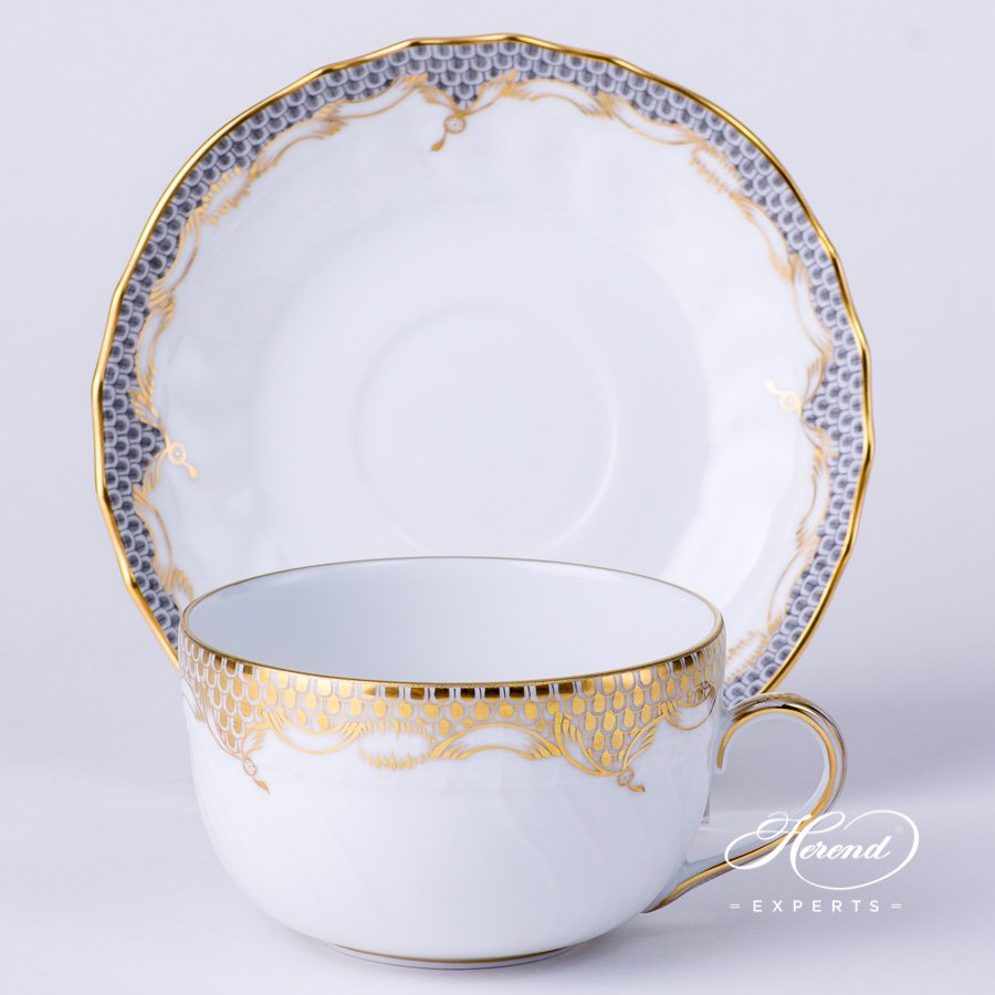 Tea Cup with Saucer 1726-0-00 A-ETOR Gold Fish Scale decor. Herend porcelain tableware. Hand painted