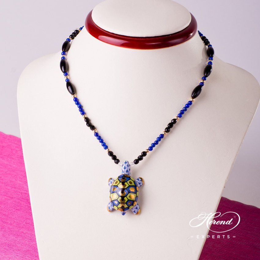 Herend Jewellery Turtle Necklace 15529-0-47 VHFB Navy Blue fish scale