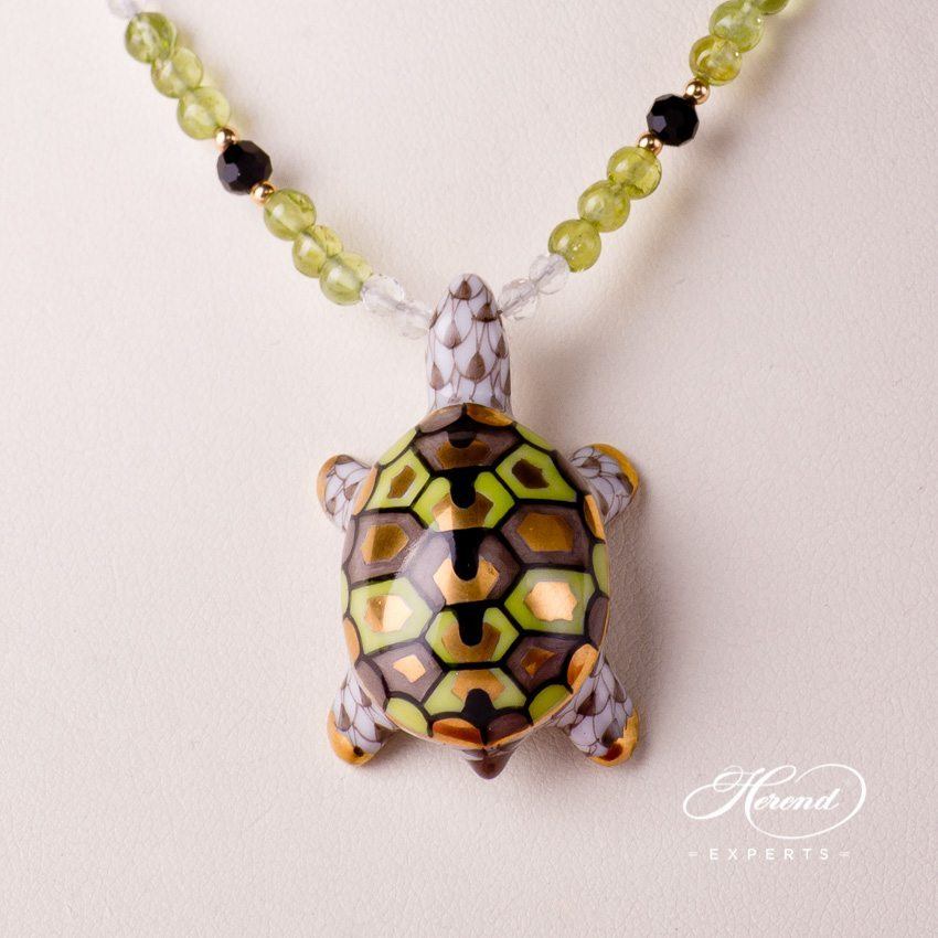 Herend Jewellery Turtle Necklace 15529-0-47 VHBR1 Light Brown fish scale decor
