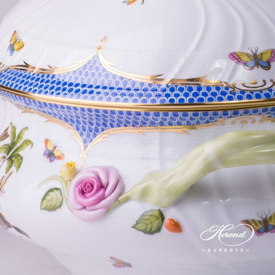 Soup Tureen with Cauliflower Knob 1002-0-04 RO-EB Rothschild Bird Blue Fish scale design. Herend fine china tableware. Hand painted