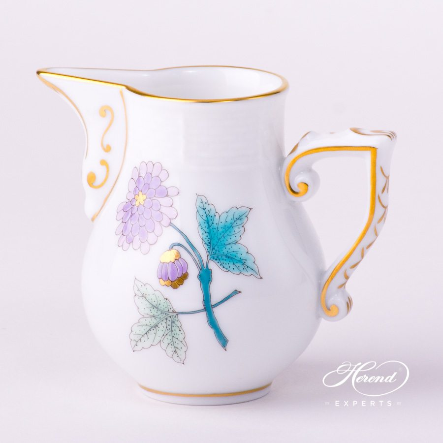 Milk Jug / Creamer 658-0-00 EVICTF2 Royal Garden Turquoise Flower design. Herend fine china