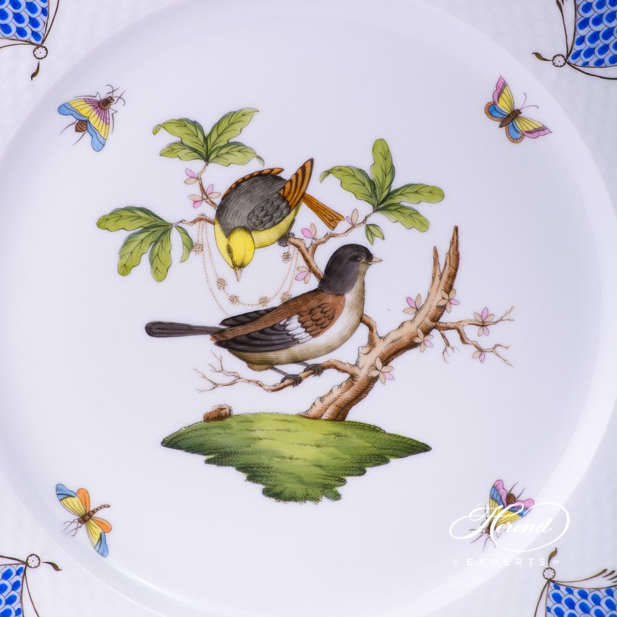 Serving Plate 527-0-00 RO-ETB Rothschild Bird Blue Fish scale design. Herend fine china tableware. Hand painted
