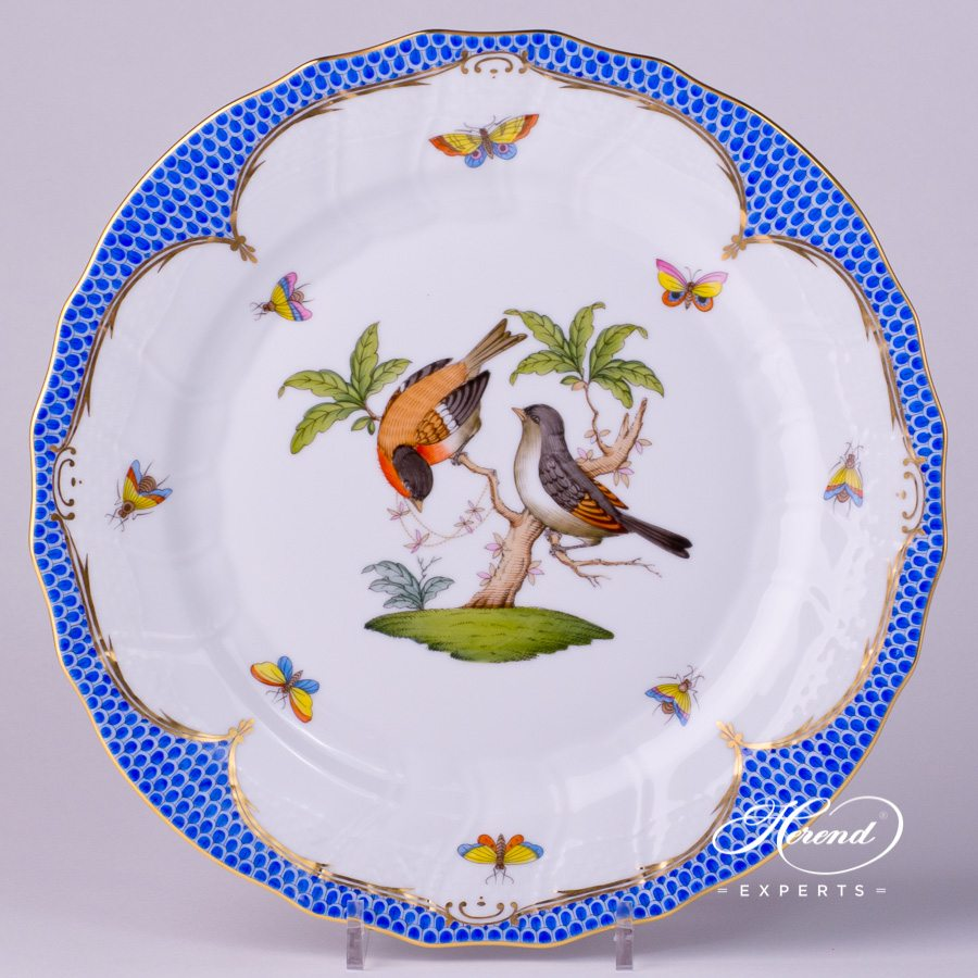 Dessert Plate 1520-0-00 RO-EB Rothschild Bird Blue Fish scale design. Herend fine china tableware. Hand painted