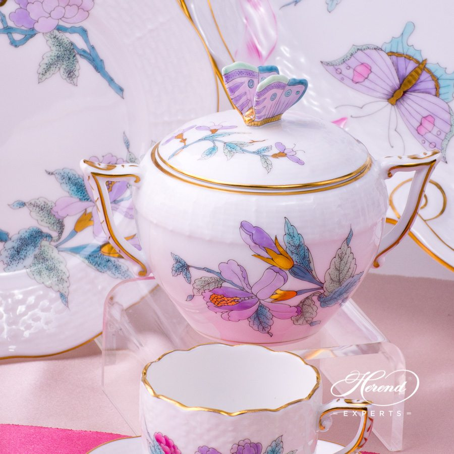 Coffee Set for 2 Persons - Herend Royal Garden EVICT2 Turquoise pattern. Herend porcelain hand painted